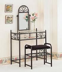 Glass Makeup Vanity Table Black Metal Vanity Table Set Glass Makeup Vanity Tables
