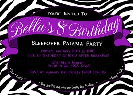 printable diy zebra print sleepover pajama birthday party