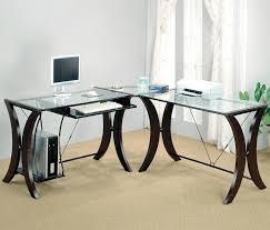 glass top cappuccino corner desk
