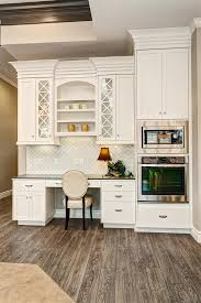 Kitchen Desk Area Ideas Desk Area And Display Hutch In Kitchen With Built In Wall Oven And
