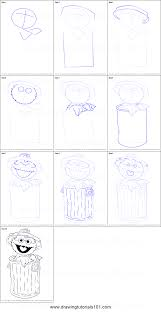 how to draw oscar the grouch from sesame street printable step by