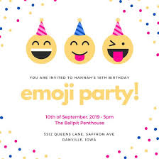colorful emoji confetti 18th birthday invitation templates by canva