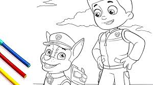 paw patrol ryder and chase coloring pages coloring book for kids
