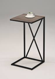 gray wood side table amazon com vintage brown finish metal frame c table side end table