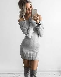 shoulder slash neck sweater dress