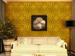 living room gold wall background color accent with 3d flower in