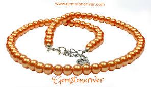 earrings statement necklace images Orange pearl classic statement necklace bracelet earring set jpg
