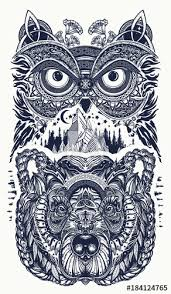 owl and bear tattoo art owl mountains in ethnic celtic style t