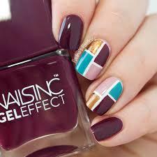 fall color block nails