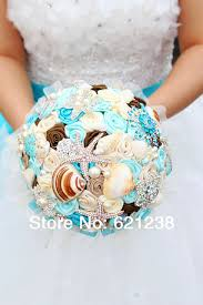 theme wedding bouquets 7 inch blue shell brooch bouquet handmade theme wedding