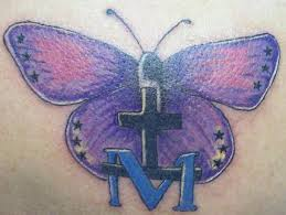 religious purple butterfly cross design pic tattoomagz