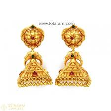 temple jewellery earrings jhumkas in 22k gold made in india