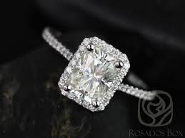 radiant cut engagement ring rosados box 8x6mm white gold radiant f1 moissanite and