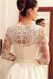 princess a line satin wedding dress white lace v neck long sleeve