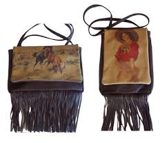 Deer Tanned Cowhide Flap Purse W Fringe Cowgirl Classics Native American Made