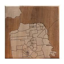 san francisco neighborhood map wooden routing california san