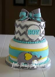 babyshower cake chevron grey blue yellow elephant boymom