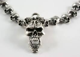 silver skull chain necklace images Sterling 925 silver skull necklace jpg