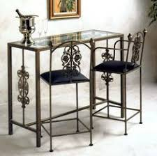 Garden Bar Table And Stools Bistro Set Wrought Iron W Glass Top Table U0026 2 Bar Stools Neutral