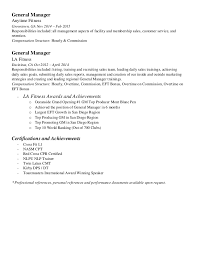 Sample Resume Personal Trainer by Gym Manager Resume Template Contegri Com