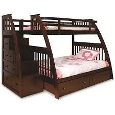 over full bunk bed with stairs and storage