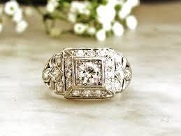 art deco engagement ring 0 77ctw european cut diamond platinum