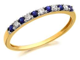 gold eternity ring 9ct gold sapphire and diamond half eternity ring 10pts d8110