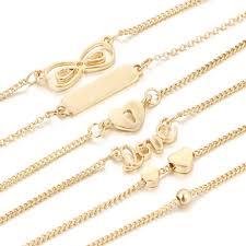 simple chain bracelet images Cute 6 pcs anklets set love heart infinity knot simple gold chain jpg