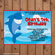 shark theme birthday party invitations crafty designs