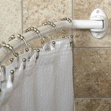 Bathroom Shower Window Curtains by Decorating White Shower Curtains With White Curved Curtain Rod