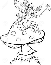 black white cartoon illustration cute elf fairy fantasy