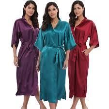 robe de chambre anglais femmes satin kimono robe robe de chambre de mariée