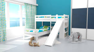 LShaped Bunk Bed Phillip Solid Beech Wood With Slide And Shelf - L shaped bunk bed