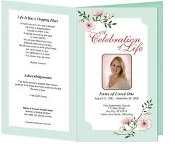 Funeral Service Announcement Wording Memorial Program Floral Theme Carol Preprinted Title Letter