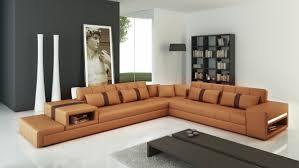Colored Sectional Sofas by Casa 6141 Modern Camel And Brown Leather Sectional Sofa