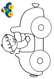Imprimer le coloriage avec modèle le garçon dans la voiture  Tête à
