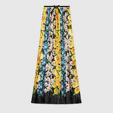 pleated skirts florage print satin pleated skirt gucci women s skirts