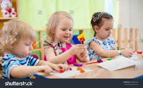 kids making arts crafts children kindergarten stock photo