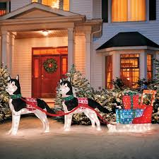 lighted dog christmas lawn ornament huskies with sleigh lighted outdoor christmas decoration improvements