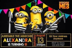 despicable me 3 minions birthday party invitations personalized
