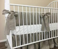 Nursery Bedding Set by Dark Linen Baby Bedding Set With Sash Ties Rustic Nursery Charm