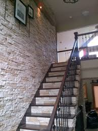 airstone projects available at lowe s use as backsplash on airstone for that dramatic wall of stone going up the staircase it s much cheaper than real or faux stone it might be nice to put it on the back of the