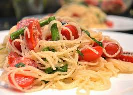 the no pressure cooker asparagus and marinated tomato pasta