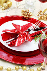decorated christmas dinner table setting stock photo picture and decorated christmas dinner table setting stock photo 16485279