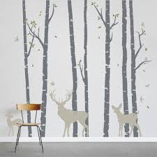 Tree Wall Murals Birch Trees Forest With Deer Wall Decal