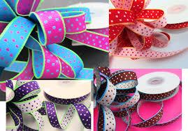 sided ribbon embellishment world ribbon grosgrain polka dot size 3 8