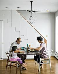 a minimal yet mighty brooklyn apartment basement stair walnut
