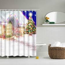 2018 waterproof christmas eve printed shower curtain bathroom