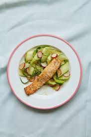 cuisin courgette glazed salmon with cucumber courgette and radish salad