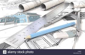 blue theme architectural house drawings and sketches rolls ruler